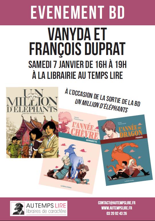 Evenement BD - Vanyda et François Duprat - Samedi 7 janvier de 16h à 19h à la librairie Au Temps Lire. A l'occasion de la sortie de la BD un million d'éléphants chez Futuropolis.