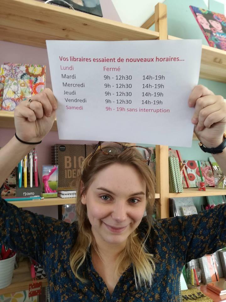 Audrey vous présente nos nouveaux horaires ! Du Mardi au Vendredi : 9h-12h30 & 14h-19h / Samedi : 9h -19h (sans interruption) / Dimanche - Lundi : Fermé