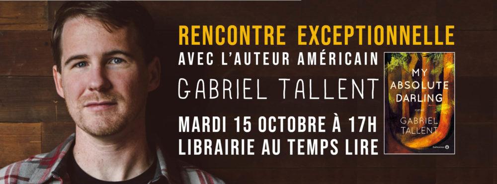MARDI 15 OCTOBRE : Rencontre avec l'auteur américain Gabriel Tallent pour son livre MY ABSOLUTE DARLING