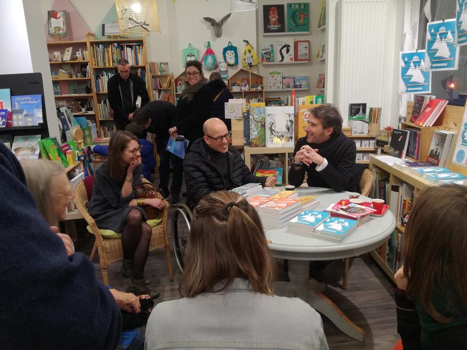 Photo souvenir de la rencontre avec Gilles Marchand, Nicolas Houguet et Amandine Cirez !