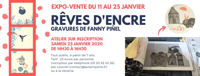 DU 11 au 25 JANVIER : Rêves d'Encre – Expo-Vente de Fanny Piñel et Atelier